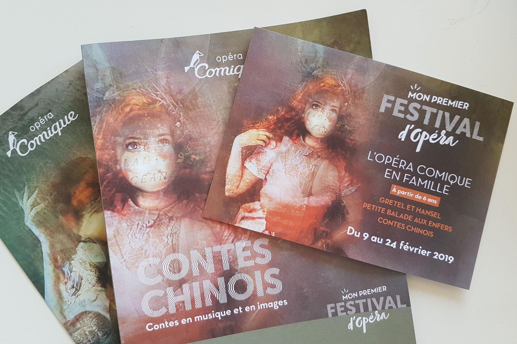 """Flyer pour des spectacles en famille à l'Opera Comique en février 2019 : """"Mon premier Festival d'Opéra"""""""