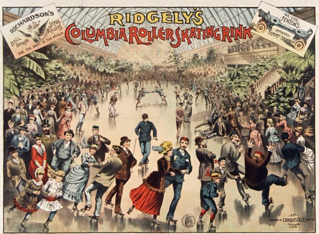 Illustration représentant une foule de personnes élégantes patinent