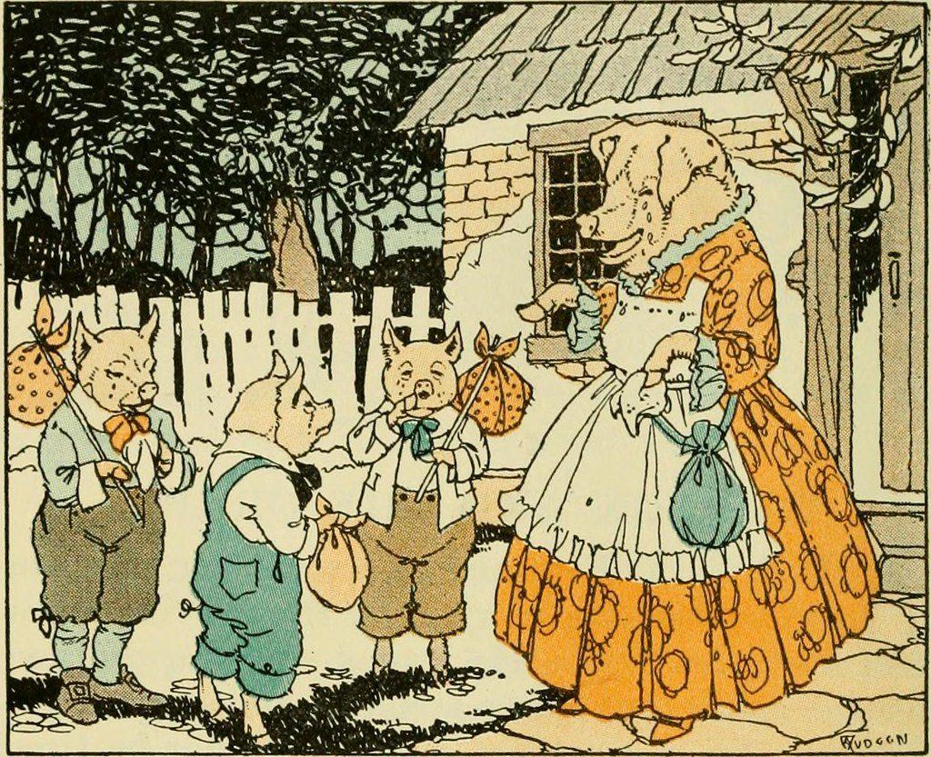 Illustration : avec leurs balluchons, les 3 peits cochons sont prêts à partie alors que leur maman ne peut retenir ses larmes